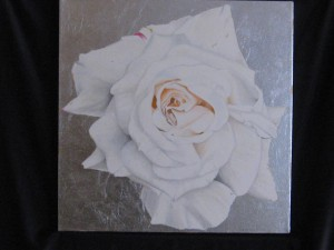 oil painting of rose on silver leaf