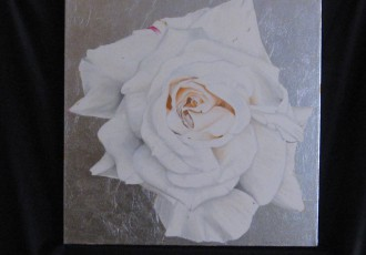 Rose on Silver $700.00 (20 x 20)