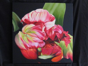 oil painting of tulip