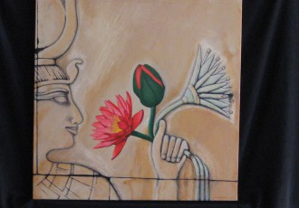 Isis and Water Lily $400.00<br/> (20 x 20)